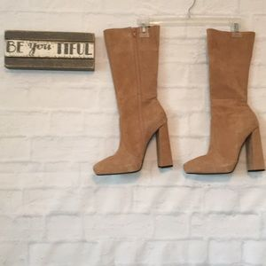 Jeffrey Campbell tan suede zip up heeled boots 6.5